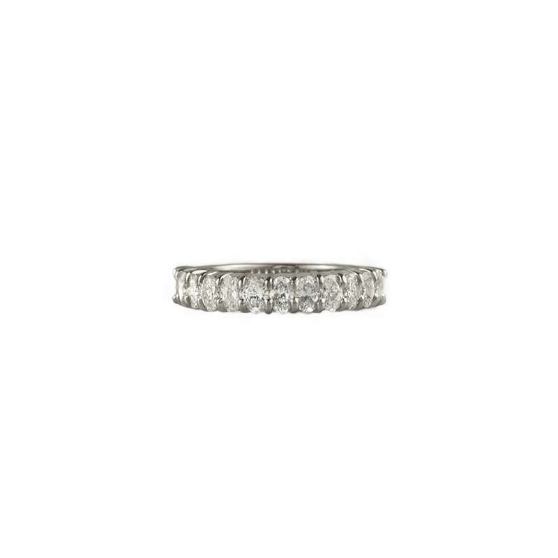 18k White Gold Oval Cut Diamond Half Eternity Ring 1.19ct H/VS1